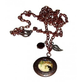 Collar largo cobrizo con detalle de Klimt